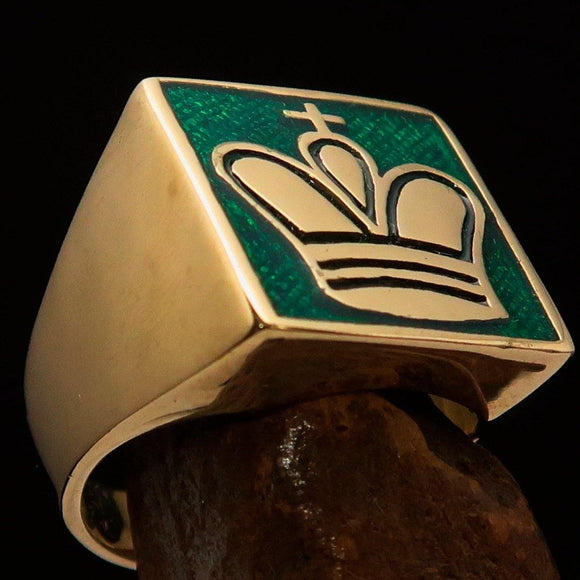 Perfectly crafted Men's Chess Player Ring Green King's Crown - Solid Brass - BikeRing4u