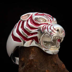 Excellent crafted Men's Animal Ring Male Tiger Red Sterling Silver 925 - BikeRing4u