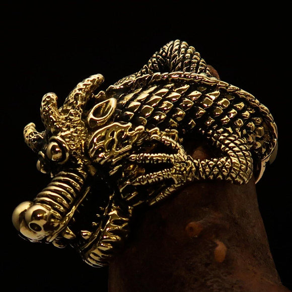 Excellent crafted Men's Dragon Ring - Solid Brass - BikeRing4u