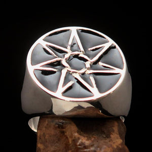 Excellent crafted Men's Heptagon Ring Black seven sided Polygon - Sterling Silver - BikeRing4u