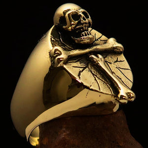 Excellent crafted Men's Skull Ring Bone Cross R.I.P - Solid Brass - BikeRing4u