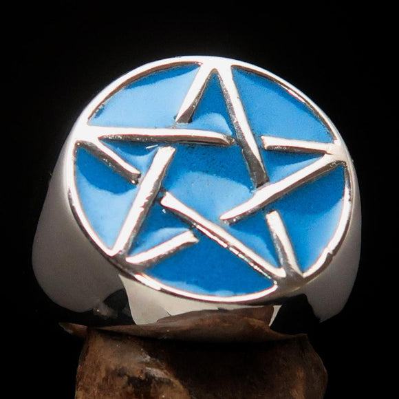 Excellent crafted Men's Pinky Ring Blue Pentagram - Sterling Silver - BikeRing4u