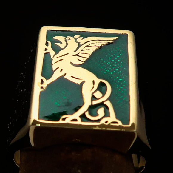Perfectly crafted Men's Green Griffin Ring Griffon - Solid Brass - BikeRing4u