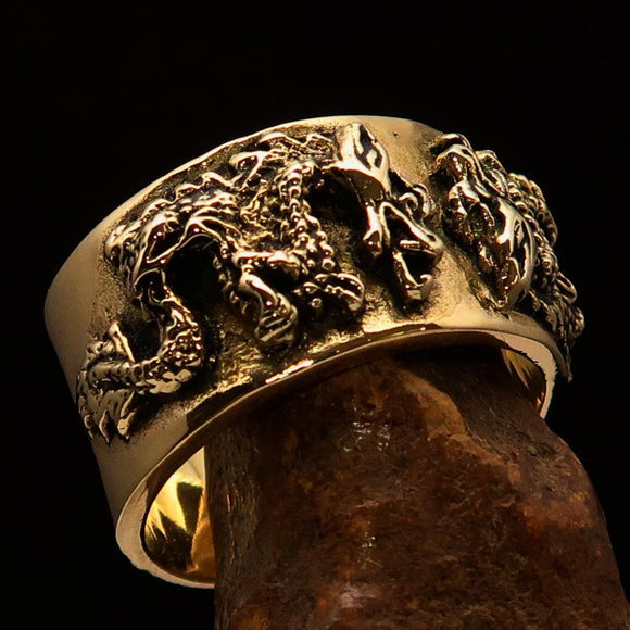 Excellent crafted Men's Two Dragon Ring - Solid Brass - BikeRing4u