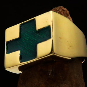 Perfectly crafted Men's Green Cross Ring - Solid Brass - BikeRing4u
