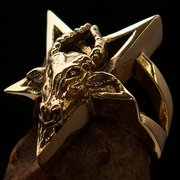 Excellent crafted Men's Ring Goat Head Pentagram - Solid Brass - BikeRing4u