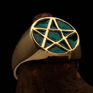 Perfectly crafted Men's Solid Line Pentagram Ring Green - Brass - BikeRing4u