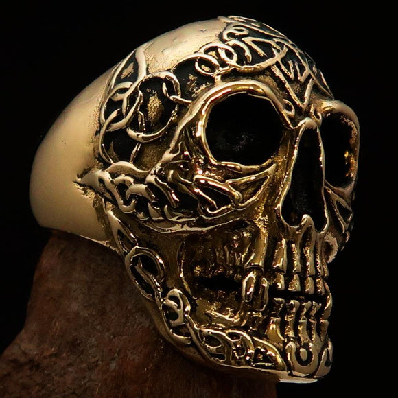 Excellent crafted Men's Celtic Skull Ring - Solid Brass - BikeRing4u