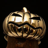 Excellent crafted Halloween Men's Pumpkin Ring - Solid Brass - BikeRing4u