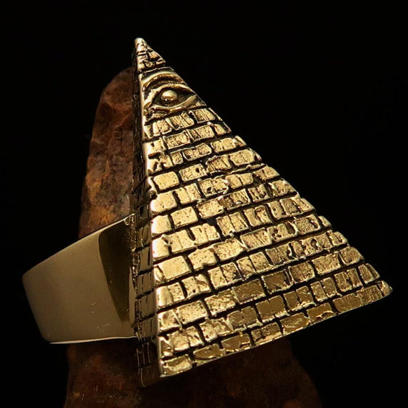 Excellent crafted Men's All Seeing Eye on Pyramid Ring - Solid Brass - BikeRing4u