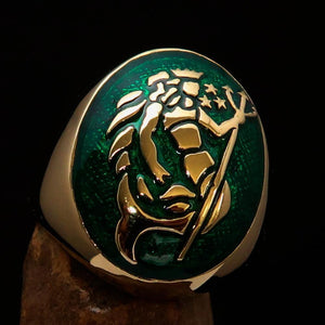 Excellent crafted Men's Aquarius Ring Green Zodiac - Solid Brass - BikeRing4u