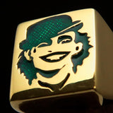 Excellent crafted Men's Joker Ring Green Harlequin - Solid Brass - BikeRing4u