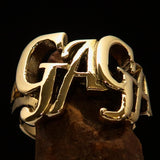 Excellent Crafted Mad Men's one Word Gaga Ring - solid Brass - BikeRing4u