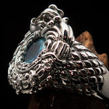 Excellent crafted Sterling Silver Men's Ring Ancient Maya Inca Dragon Blue CZ - BikeRing4u