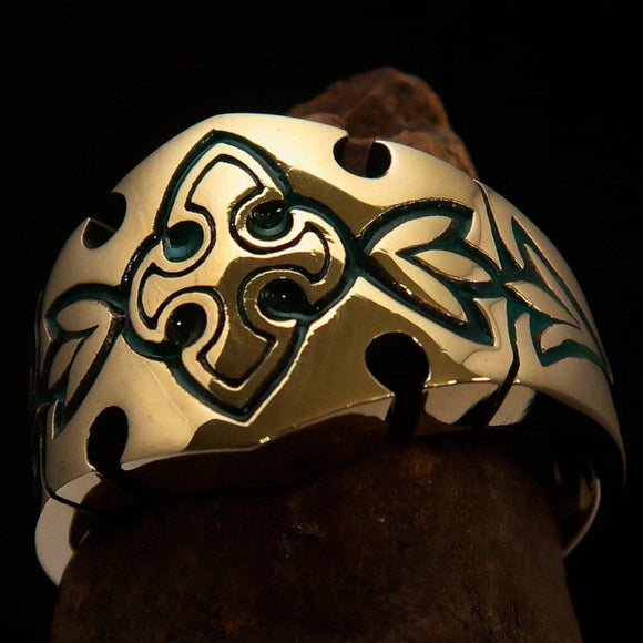 Excellent Crafted green Men's Fleur de Lis Ring - solid Brass - BikeRing4u