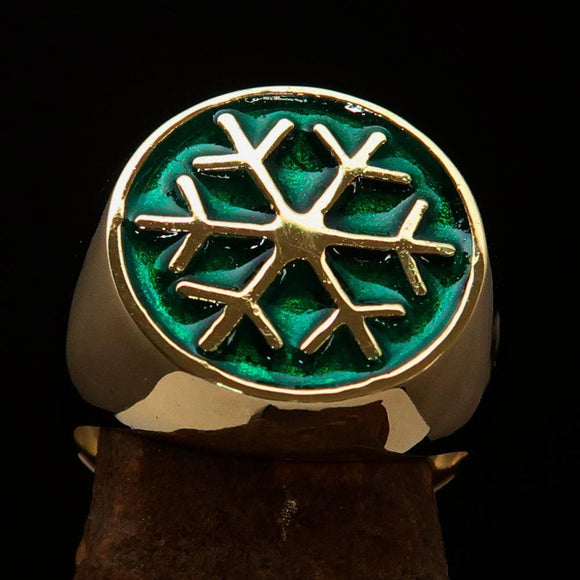 Excellent crafted Men's Winter Ring Green Snowflake - solid Brass - BikeRing4u