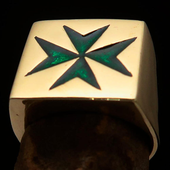 Nicely crafted Men's Knight Ring Maltese Green Cross - Solid Brass - BikeRing4u