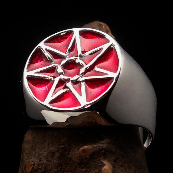 Excellent crafted Men's Heptagon Ring Red seven sided Polygon - Sterling Silver - BikeRing4u