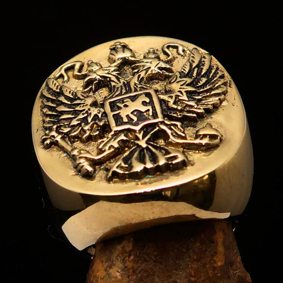 Excellent crafted Men's Russian Eagle Seal Ring - Solid Brass - BikeRing4u
