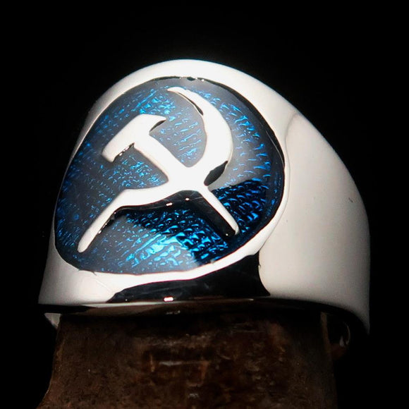 Excellent crafted Men's Hammer and Sickle Crest Ring Blue - Sterling Silver