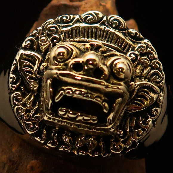 Excellent crafted Men's Balinese God Ring Bali Barong - Solid Brass
