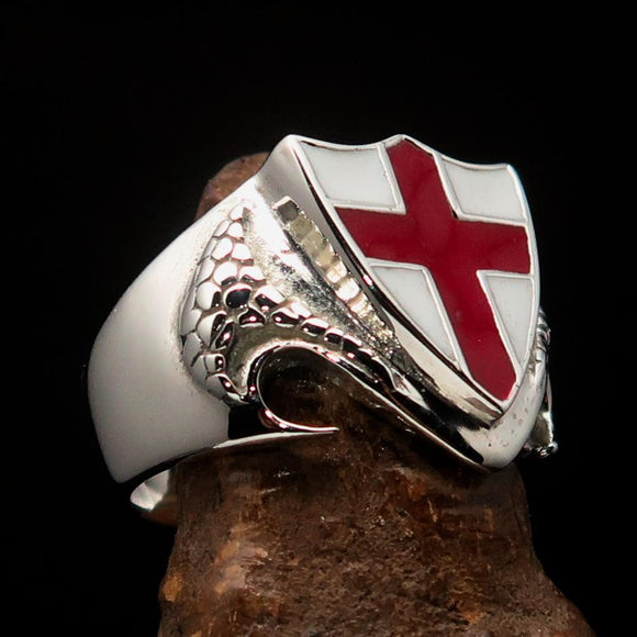 Men's Sterling Silver Shield Ring Flag of England Red Cross on White - BikeRing4u