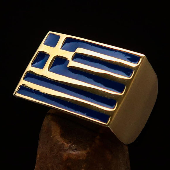 Perfectly crafted Men's Ring Flag of Greece - Solid Brass