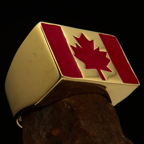 Perfectly crafted Men's Ring Flag of Canada - Solid Brass