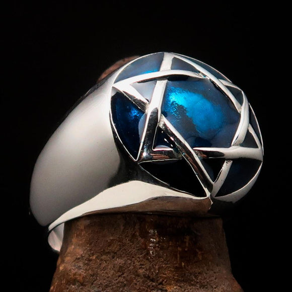 Nicely crafted Men's Hebrew Ring Blue Star of David - Sterling Silver - BikeRing4u