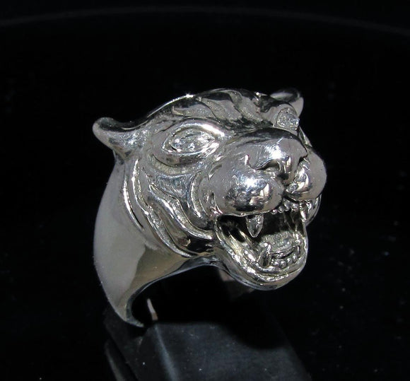 Excellent crafted Tiger Ring white CZ Eyes - Sterling Silver 925 - BikeRing4u