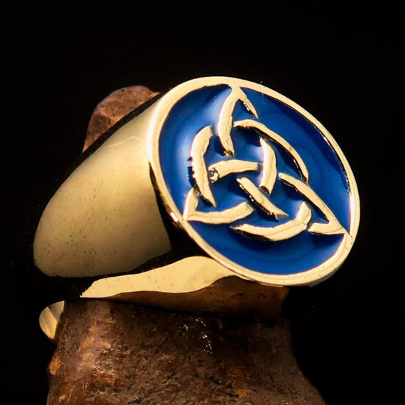 Nicely crafted Men's Triquetra Ring Celtic Triskelion Knot Blue - Solid Brass - BikeRing4u