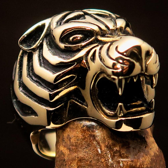 Excellent crafted Men's Animal Ring Male Tiger Antiqued - Brass - BikeRing4u