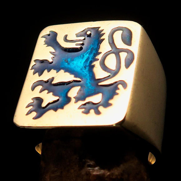Perfectly crafted Men's Rampant Lion Ring Blue - Solid Brass - BikeRing4u