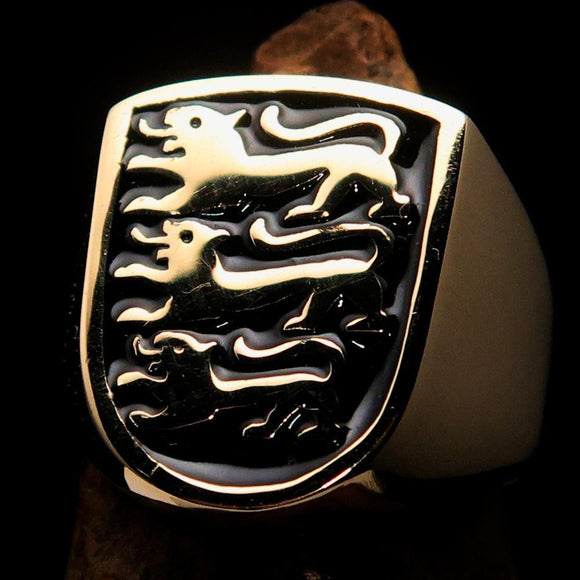 Perfectly crafted Men's Shield Ring 3 Black Lions Coat of Arms - Solid Brass - BikeRing4u