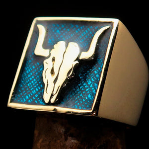 Perfectly crafted Men's Cowboy Ring Bull Skull Blue - Solid Brass - BikeRing4u