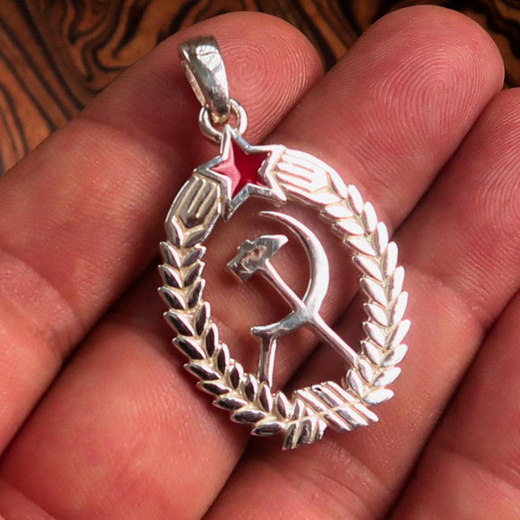 Red Star Sterling Silver Communist Crest Pendant Hammer and Sickle - BikeRing4u