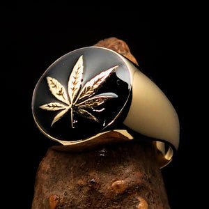 Brass Marihuana Leaf Men's Ring in Black - BikeRing4u