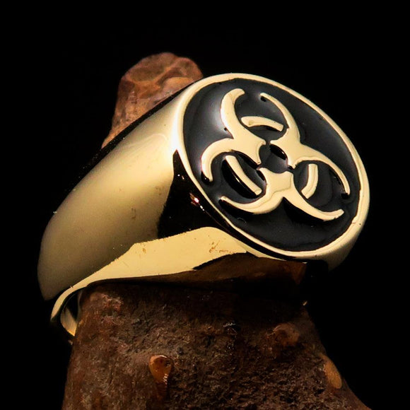 Nicely crafted domed Men's Bio Hazard Ring black Toxic Waste Symbol - Solid Brass - BikeRing4u