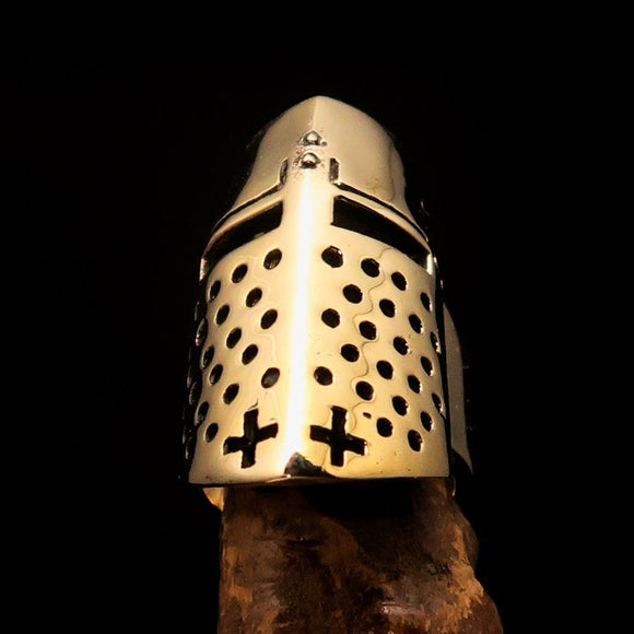 Excellent crafted Medieval Ring Knight Helmet - Solid Brass - BikeRing4u
