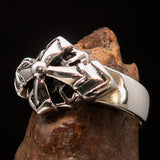Mens Sterling Silver Ring Eight Arrows Mariners Cross - BikeRing4u