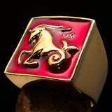Brass Men's Zodiac Ring Capricorn in Red - BikeRing4u