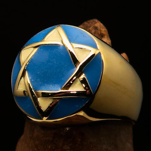 Nicely crafted Men's Hebrew Ring Blue and White Star of David - Solid Brass - BikeRing4u
