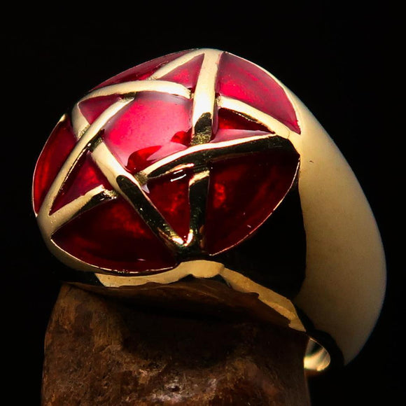 Excellent crafted Men's Pinky Ring domed Red Pentagram - Solid Brass - BikeRing4u