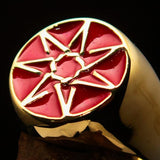Excellent crafted Men's Heptagon Ring Red seven sided Polygon - Solid Brass - BikeRing4u
