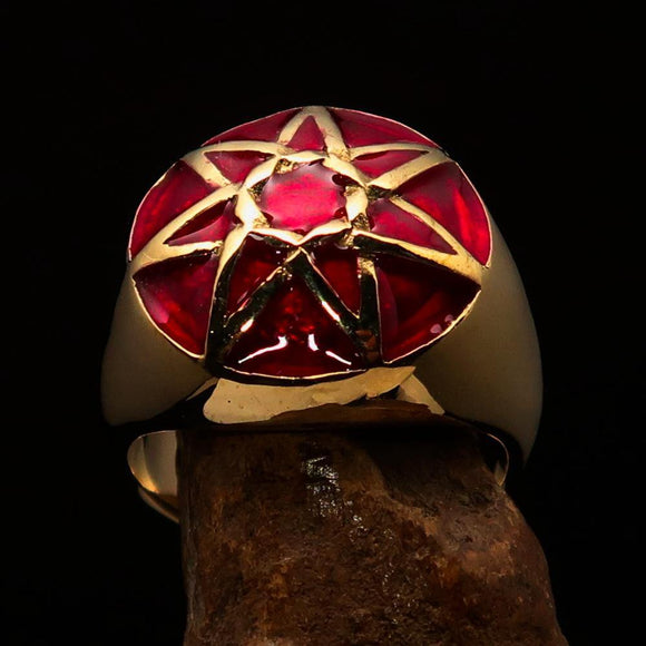 Nicely crafted domed Men's Heptagram Ring Red Heptagon - Solid Brass
