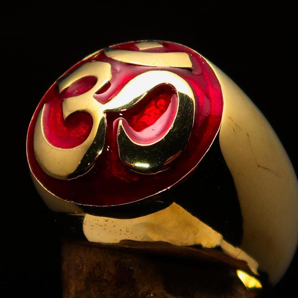 Nicely crafted domed Men's Buddhist Ring Red Aum Symbol - Solid Brass