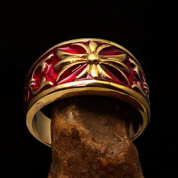 Nicely crafted Men's Fleur de Lis Band Ring Red - Solid Brass - BikeRing4u
