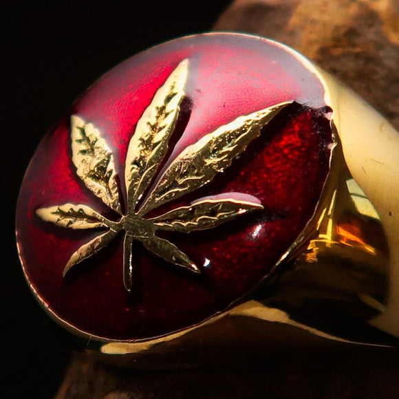 Brass Marihuana Leaf Men's Ring in Red - BikeRing4u