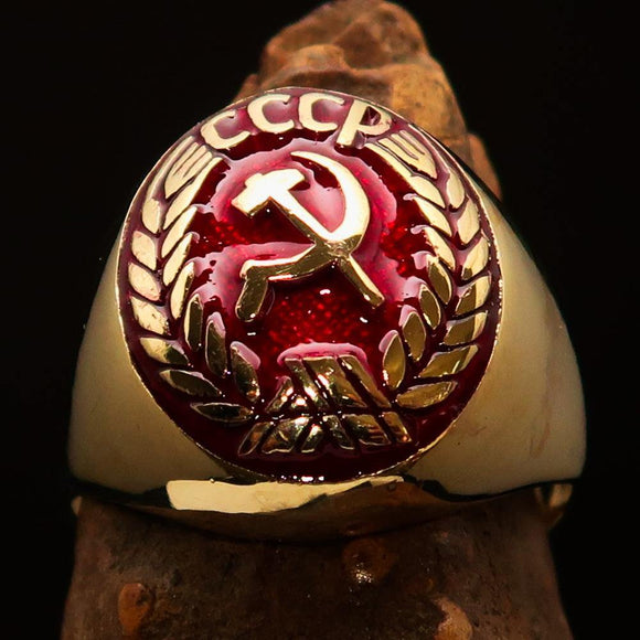 Perfectly crafted Men's Communist Ring Hammer Sickle Crest CCCP Red - Solid Brass - BikeRing4u