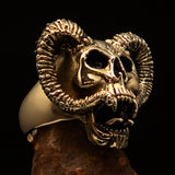 Excellent crafted Men's Brass Biker Ring Horned Ram Skull - BikeRing4u